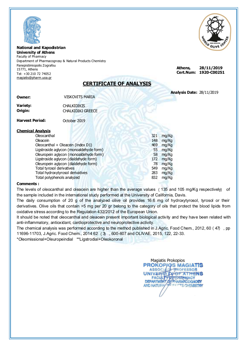 CERTIFICATE OF ANALYSIS olives oil 2019